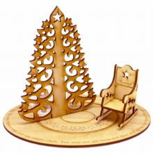 Christmas in Heaven Rocking Chair mini with Tea Light Candle Holder - MDF or Ply